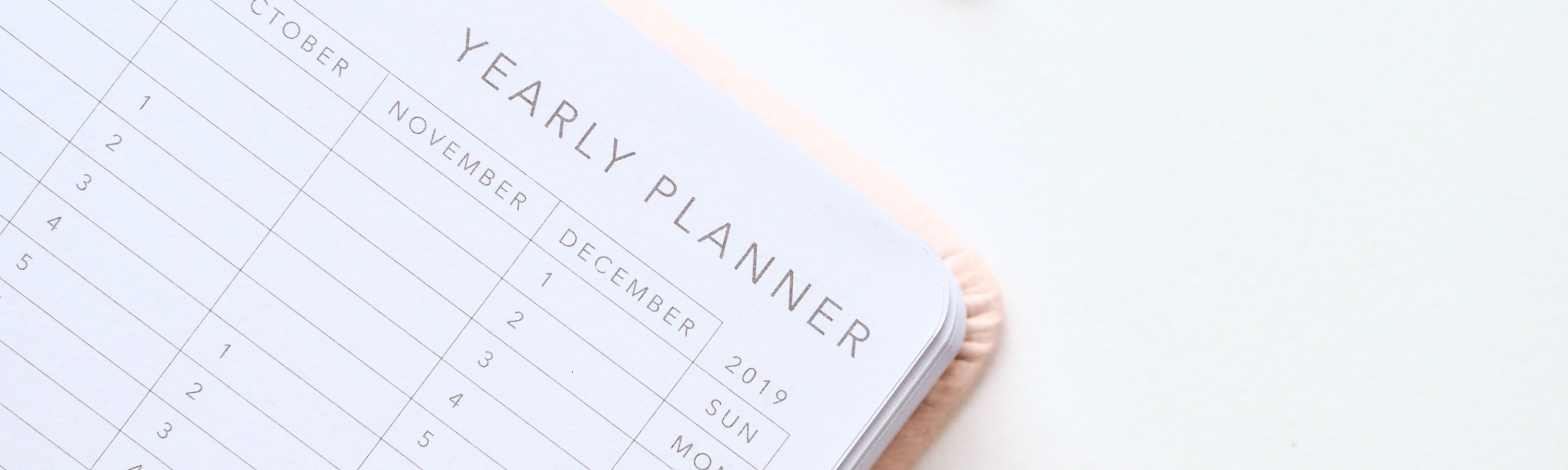 Yearly planner with pen